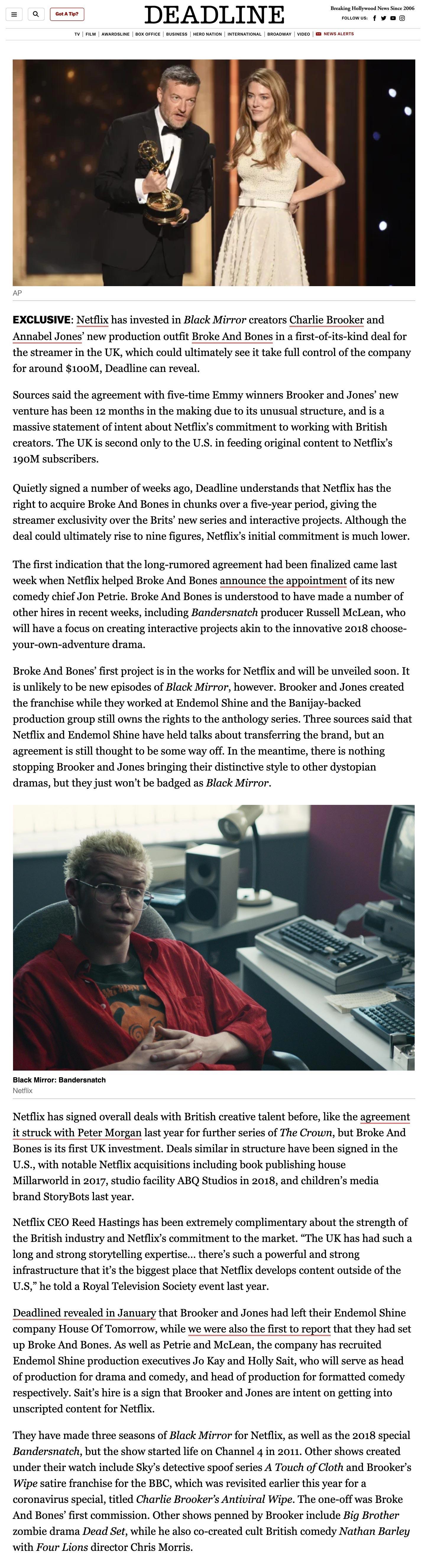 Deadline-Netflix Invests In Charlie Brooker & Annabel Jones' Broke & Bones